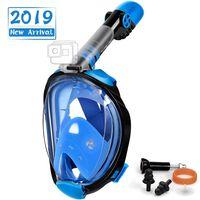 Máscara de snorkel com suporte para câmera - preto / azul - S / M