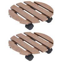 vidaXL Suportes com rodas para vasos 2 pcs Ø30x7,5 cm WPC castanho