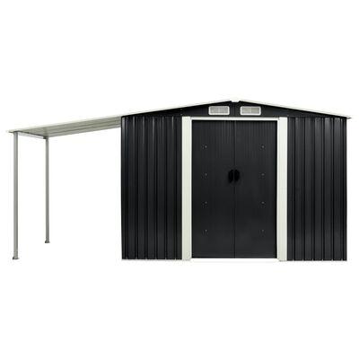 vidaXL Abrigo jardim c/ portas de correr 386x131x178 cm aço antracite