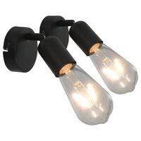 vidaXL Holofotes 2 pcs lâmpadas de incand. 2 W preto E27