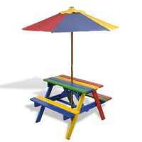 vidaXL Mesa piquenique infantil + bancos/guarda-sol madeira multicor