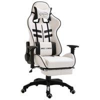 vidaXL Cadeira de gaming c/ apoio pés couro artificial preto