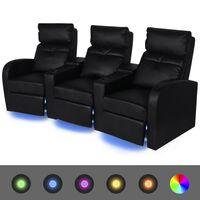 vidaXL Poltrona reclinável LED com 3 lugares, couro artificial, preto