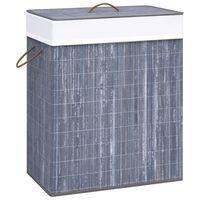 vidaXL Cesto para roupa suja 83 L bambu cinzento