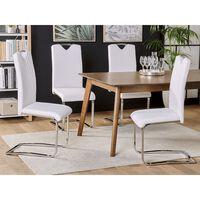 Conjunto De 2 Cadeiras De Jantar Em Pele Sintética Branco Creme Pickne