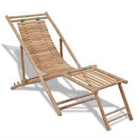 vidaXL Espreguiçadeira de exterior com apoios de pé bambu