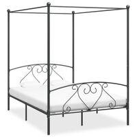 vidaXL Estrutura de cama com dossel 160x200 cm metal cinzento