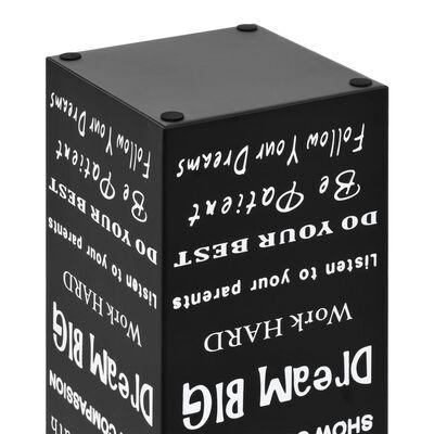 vidaXL Suporte para guarda-chuvas com texto em aço preto