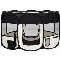 vidaXL Parque dobrável p/ cão c/ saco de transporte 125x125x61cm preto