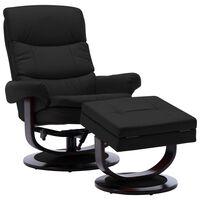 vidaXL Poltrona reclinável couro artificial/madeira curvada preto