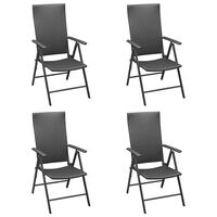vidaXL Cadeiras de jardim 4 pcs vime PE preto