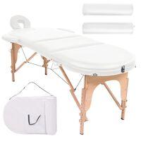 vidaXL Mesa de massagem dobrável c/ 2 rolos 4cm espessura oval branco