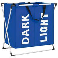 vidaXL Separador de roupa suja de 2 secções azul