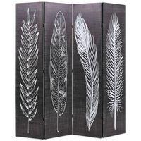 vidaXL Biombo dobrável com estampa de penas 160x170 cm preto e branco