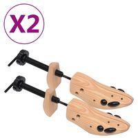 vidaXL Alargador de calçado 2 pares tam. 41-46 madeira de pinho maciça