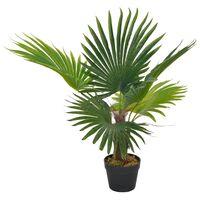 vidaXL Palmeira artificial com vaso 70 cm verde