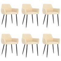vidaXL Cadeiras de jantar 6 pcs veludo creme