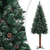 vidaXL Árvore de Natal fina madeira genuína e neve branca 210 cm verde