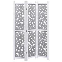 vidaXL Biombo com 4 painéis 140x165 cm madeira maciça cinzento