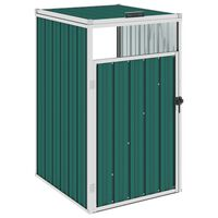 vidaXL Abrigo para caixote do lixo 72x81x121 cm aço verde