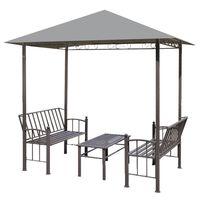 vidaXL Pérgula para jardim com mesa e bancos 2,5x1,5x2,4 m antracite