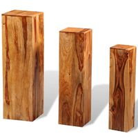vidaXL Suportes para plantas 3 pcs madeira de sheesham maciça castanho