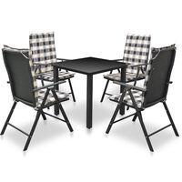 vidaXL 5 pcs conjunto jantar exterior com almofadões alumínio preto