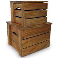 vidaXL Conjunto de caixas de arrumação 2 pcs madeira reciclada maciça