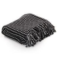 vidaXL Manta em algodão aos quadrados 125x150 cm preto