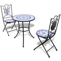 vidaXL Conjunto bistrô azulejos de cerâmica 3 pcs azul e branco