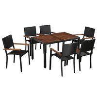 vidaXL 7 pcs conjunto jantar exterior vime PE e madeira acácia preto