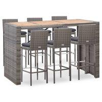 vidaXL 7 pcs conjunto jantar exterior com almofadões vime PE cinzento
