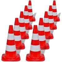 10 cones de sinalização viária reflexivos vermelho e branco, 50 cm