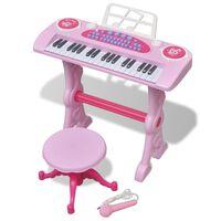 Teclado de brincar infantil com banco/microfone, 37 teclas, rosa
