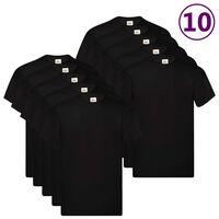 Fruit of the Loom T-shirts originais 10 pcs algodão L preto