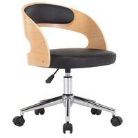 vidaXL Cadeira escritório giratória madeira curvada/couro artif. preto