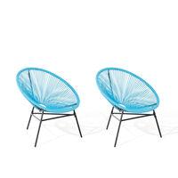 Conjunto de 2 cadeiras de jardim - azul – ACAPULCO