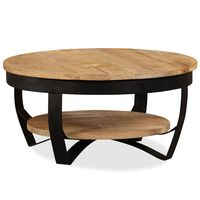 vidaXL Mesa de centro madeira de mangueira maciça áspera 65x32 cm
