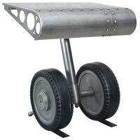 vidaXL Mesa de apoio com rodas 53x40x60 cm ferro prateado e preto