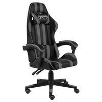 vidaXL Cadeira estilo corrida couro artificial preto e cinzento
