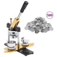vidaXL Máquina de fazer crachás + 500 crachás 58mm perfurador rotativo