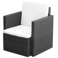 vidaXL Cadeira de jardim com almofadões e almofadas vime PE preto