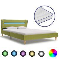 vidaXL Cama c/ LED e colchão espuma de memória 140x200cm tecido verde