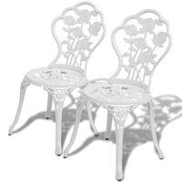 vidaXL Cadeiras de bistrô 2 pcs alumínio fundido branco