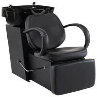 vidaXL Cadeira de salão/cabeleireiro com lavatório couro artificial preto