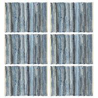 vidaXL Individual de mesa 6 pcs chindi denim algodão 30x45 cm azul