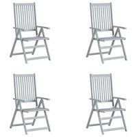 vidaXL Cadeiras jardim reclináveis 4 pcs madeira acácia maciça cinza