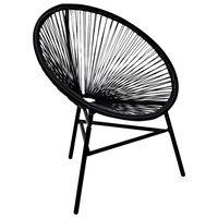 vidaXL Cadeira lua para jardim em vime PE preto