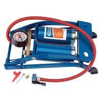 Draper Tools Bomba de pé cilindro duplo azul 25996