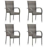 vidaXL Cadeiras de exterior empilháveis 4 pcs vime PE cinzento